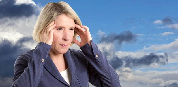 Ein Wetterumschwung kann zu Migräne führen
